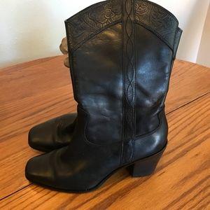 Antonio Melani Black Tooled-Leather Cowboy Boots